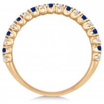 Blue Sapphire & Diamond Wedding Band Anniversary Ring in 14k Rose Gold (0.50ct)