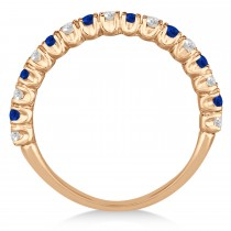 Blue Sapphire & Diamond Wedding Band Anniversary Ring in 14k Rose Gold (0.75ct)