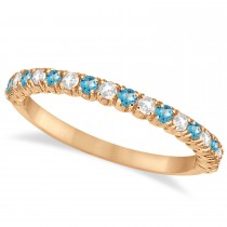 Blue Topaz & Diamond Wedding Band Anniversary Ring in 14k Rose Gold (0.50ct)