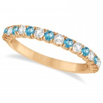 Blue Topaz & Diamond Wedding Band Anniversary Ring in 14k Rose Gold (0.75ct)