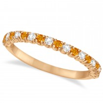 Citrine & Diamond Wedding Band Anniversary Ring in 14k Rose Gold (0.50ct)