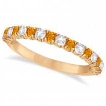 Citrine & Diamond Wedding Band Anniversary Ring in 14k Rose Gold (0.75ct)