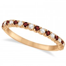 Garnet & Diamond Wedding Band Anniversary Ring in 14k Rose Gold (0.50ct)