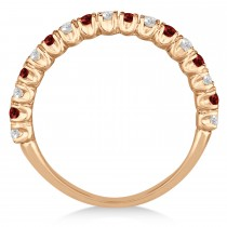 Garnet & Diamond Wedding Band Anniversary Ring in 14k Rose Gold (0.75ct)