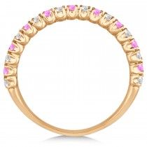 Pink Sapphire & Diamond Wedding Band Anniversary Ring in 14k Rose Gold (0.50ct)