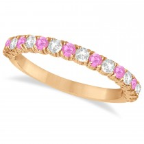 Pink Sapphire & Diamond Wedding Band Anniversary Ring in 14k Rose Gold (0.75ct)