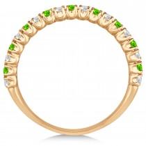 Peridot & Diamond Wedding Band Anniversary Ring in 14k Rose Gold (0.50ct)