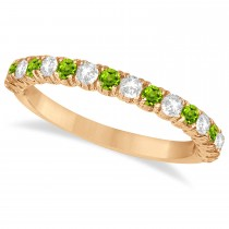 Peridot & Diamond Wedding Band Anniversary Ring in 14k Rose Gold (0.75ct)