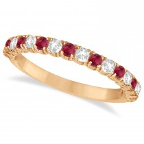 Ruby & Diamond Wedding Band Anniversary Ring in 14k Rose Gold (0.75ct)