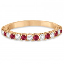 Ruby & Diamond Wedding Band Anniversary Ring in 14k Rose Gold (0.75ct)