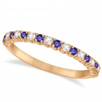 Tanzanite & Diamond Wedding Band Anniversary Ring in 14k Rose Gold (0.50ct)