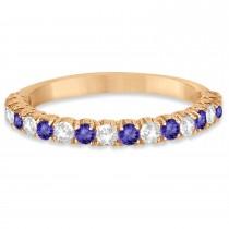 Tanzanite & Diamond Wedding Band Anniversary Ring in 14k Rose Gold (0.75ct)