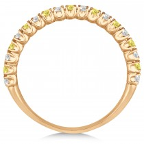 Yellow & White Diamond Wedding Band Anniversary Ring in 14k Rose Gold (0.50ct)