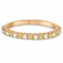 Yellow & White Diamond Wedding Band Anniversary Ring in 14k Rose Gold (0.50ct)