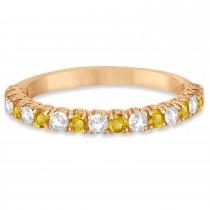 Yellow & White Diamond Wedding Band Anniversary Ring in 14k Rose Gold (0.75ct)