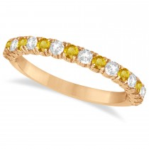 Yellow Sapphire & Diamond Wedding Band Anniversary Ring in 14k Rose Gold (0.75ct)