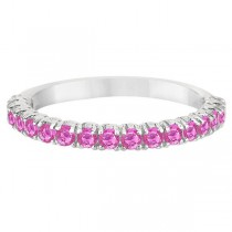Half-Eternity Pave-Set Pink Sapphire Stacking Ring Palladium (0.95ct)