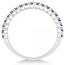 Half-Eternity Pave-Set Thin Amethyst Stack Ring 14k White Gold (0.65ct)