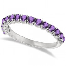 Amethyst Semi-Eternity Ring Band 14k White Gold (1.09ct)