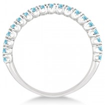Half-Eternity Pave-Set Thin Aquamarine Stack Ring 14k White Gold (0.65ct)