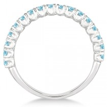 Half-Eternity Pave-set Aquamarine Stacking Ring 14k White Gold (0.95ct)|escape