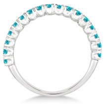 Half-Eternity Pave Blue Diamond Stacking Ring 14k White Gold (0.75ct)