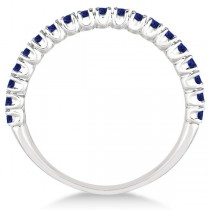 Half-Eternity Pave Thin Blue Sapphire Stack Ring 14k White Gold (0.65ct)