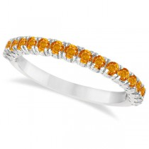 Half-Eternity Pave-Set Citrine Stacking Ring 14k White Gold (0.95ct)
