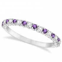 Amethyst & Diamond Wedding Band Anniversary Ring in 14k White Gold (0.50ct)