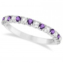 Amethyst & Diamond Wedding Band Anniversary Ring in 14k White Gold (0.75ct)