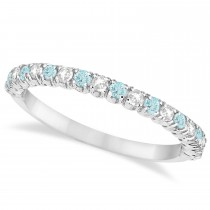 Aquamarine & Diamond Wedding Band Anniversary Ring in 14k White Gold (0.50ct)