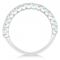 Aquamarine & Diamond Wedding Band Anniversary Ring in 14k White Gold (0.75ct)
