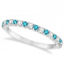 Blue & White Diamond Wedding Band Anniversary Ring in 14k White Gold (0.50ct)