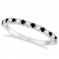 Black & White Diamond Wedding Band Anniversary Ring in 14k White Gold (0.50ct)