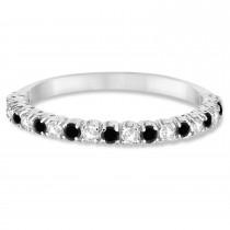 Black & White Diamond Wedding Band Anniversary Ring in 14k White Gold (0.50ct)