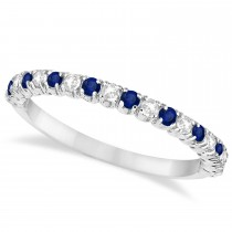 Blue Sapphire & Diamond Wedding Band Anniversary Ring in 14k White Gold (0.50ct)