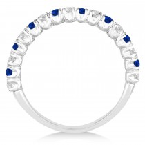 Blue Sapphire & Diamond Wedding Band Anniversary Ring in 14k White Gold (0.75ct)