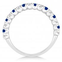 Blue Sapphire & Diamond Wedding Band Anniversary Ring in 14k White Gold (0.75ct)