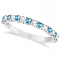 Blue Topaz & Diamond Wedding Band Anniversary Ring in 14k White Gold (0.75ct)