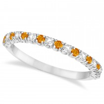 Citrine & Diamond Wedding Band Anniversary Ring in 14k White Gold (0.50ct)