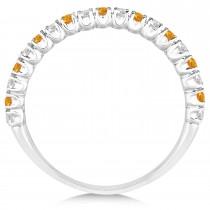 Citrine & Diamond Wedding Band Anniversary Ring in 14k White Gold (0.50ct)