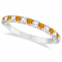 Citrine & Diamond Wedding Band Anniversary Ring in 14k White Gold (0.75ct)