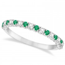 Emerald & Diamond Wedding Band Anniversary Ring in 14k White Gold (0.50ct)