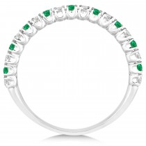 Emerald & Diamond Wedding Band Anniversary Ring in 14k White Gold (0.50ct)