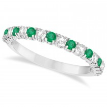 Emerald & Diamond Wedding Band Anniversary Ring in 14k White Gold (0.75ct)