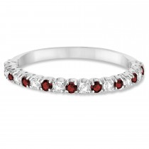 Garnet & Diamond Wedding Band Anniversary Ring in 14k White Gold (0.50ct)