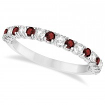 Garnet & Diamond Wedding Band Anniversary Ring in 14k White Gold (0.75ct)