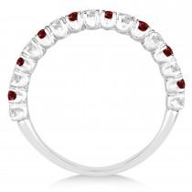 Garnet & Diamond Wedding Band Anniversary Ring in 14k White Gold (0.75ct)