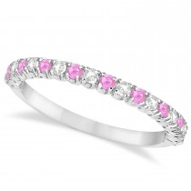 Pink Sapphire & Diamond Wedding Band Anniversary Ring in 14k White Gold (0.50ct)