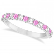 Pink Sapphire & Diamond Wedding Band Anniversary Ring in 14k White Gold (0.75ct)